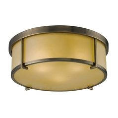 Modern Flushmount Light in Antique Brass Finish