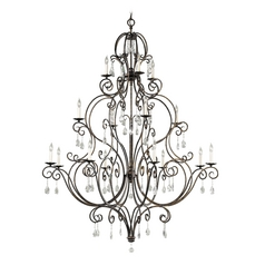Feiss Chateau 3-Tier 16-Light Crystal Chandelier in Mocha Bronze