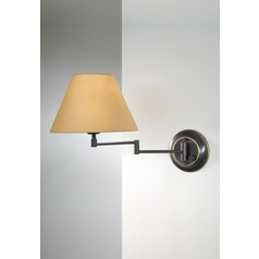 Holtkoetter Swing Arm Lamp with Beige / Cream Shade in Hand-Brushed Old Bronze Finish