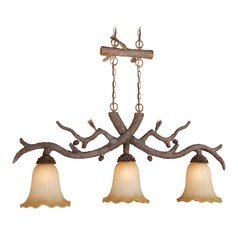 Aspen Pine Tree Island Light with Scalloped Shade by Vaxcel Lighting