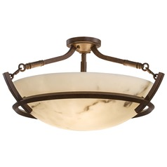 Semi-Flushmount Light with Alabaster Glass in Nutmeg Finish