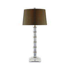Table Lamp with Brown Shade in Brass/clear Crystal Finish