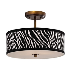 Zebra Print Ceiling Light with Drum Shade - 14-Inches Wide