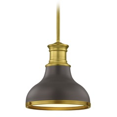 Farmhouse Bronze with Brass Small Pendant Light 8.63-Inch Wide