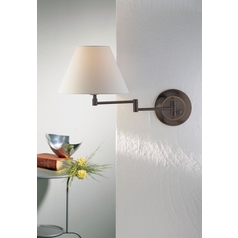 Holtkoetter Swing Arm Lamp with White Shade in Hand-Brushed Old Bronze Finish