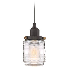 Mid-Century Modern Mini-Pendant Light Bronze Belmont by Quoizel Lighting
