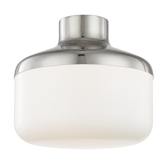 Industrial Flushmount Light Polished Nickel Mitzi Livvy by Hudson Valley