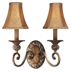 Sconce Wall Light with Beige / Cream Shades in Florence Patina Finish