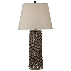 Table Lamp with Taupe Shade in Light and Dark Rope Finish