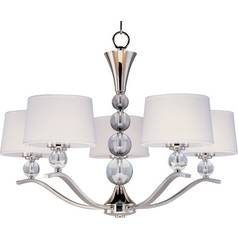 Maxim Lighting Modern Chandelier with White Shades in Polished Nickel Finish 12755WTPN