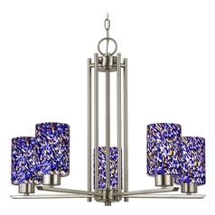 Chandelier with Blue Art Glass in Satin Nickel Finish - 5 Lights