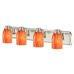 4-Light Vanity Light with Red Art Glass in Satin Nickel