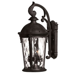 Seeded Glass Outdoor Wall Light Black Hinkley Lighting