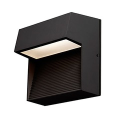 Modern Black LED Outdoor Wall Light with Frosted Shade 3000K 138LM