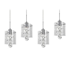 Crystal Chrome LED Multi-Light Pendant with Clear Shade 3000K 1600LM