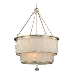 Pendant Silver Leaf Pendant Light with Drum Shade by Vaxcel Lighting
