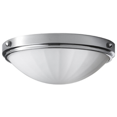 Modern Flushmount Light with White Glass in Chrome Finish
