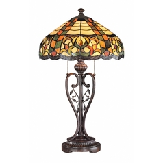 Table Lamp with Art Glass in Antique Brown Finish