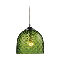 Mini-Pendant Light with Green Glass