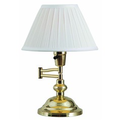 Swing-Arm Lamp with White Shade in Polished Brass Finish