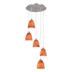 Modern Satin Nickel Multi-Light Pendant with Art Glass Bell Shades