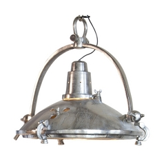 Large Retro Pendant Light in Raw Nickel Finish