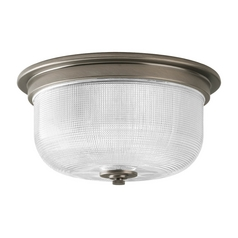 Farmhouse Flushmount Light Prismatic Glass Antique Nickel Archie by Progress Lighting