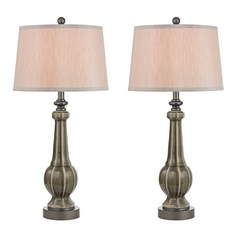 LED Table Lamp Set with Grey Shades in Georgia Grey Glaze Finish