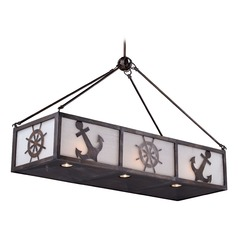 Frosted Seeded Glass Island Light Bronze Vaxcel Lighting