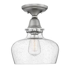 Industrial Seeded Glass Semi-Flush Ceiling Light Nickel by Hinkley Lighting