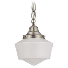 6-Inch Schoolhouse Mini-Pendant Light with Chain in Satin Nickel