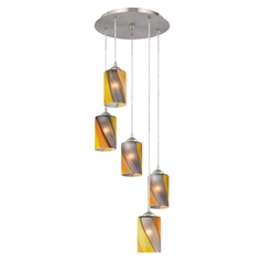 Modern Multi Mini-Pendant Light with Five Cylinder Art Glass Shades