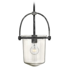 Hinkley Lighting Clancy Aged Zinc Pendant Light with Cylindrical Shade