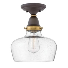 Industrial Seeded Glass Semi-Flush Light Oil Rubbed Bronze by Hinkley Lighting