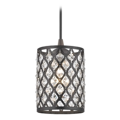 Crystal Neuvelle Bronze & Phoenix Cord Hung Mini-Pendant Light
