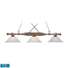 Elk Lighting Designer Classics Wood Patina LED Billiard Light with Bowl / Dome Shade