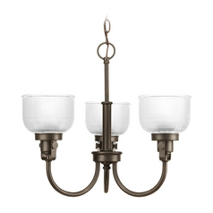 Farmhouse Chandelier Prismatic Glass Bronze Archie by Progress Lighting