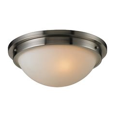 Modern Flushmount Light with White Glass in Brushed Nickel Finish