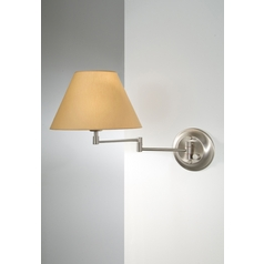 Holtkoetter Swing Arm Lamp with Beige / Cream Shade in Satin Nickel Finish