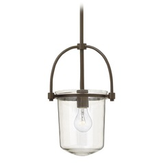 Hinkley Lighting Clancy Buckeye Bronze Pendant Light with Cylindrical Shade