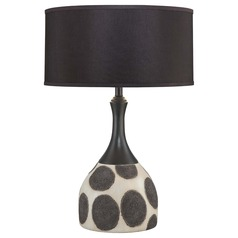 Minka Lavery Black with Aged White Table Lamp with Drum Shade