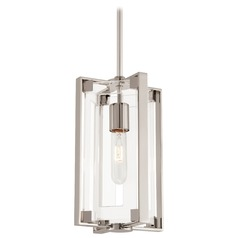Mid-Century Modern Pendant Light Polished Nickel and Clear Acrylic