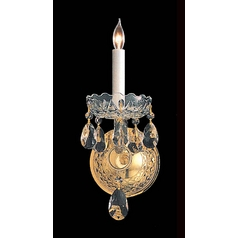 Crystal Sconce Wall Light in Polished Brass Finish