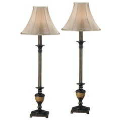 Table Lamp Set with Beige / Cream Shade in Crackle Bronze Finish