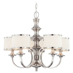 Modern Chandelier with White Shades in Brushed Nickel Finish