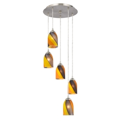 Art Glass Multi-Light Pendant with Dome Shades and Five Lights