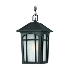 LED Outdoor Hanging Light with White Glass in Black Finish