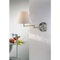 Holtkoetter Swing Arm Lamp with White Shade in Satin Nickel Finish
