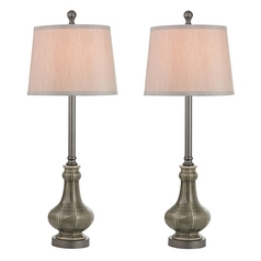 Table Lamp Set with Grey Shades in Georgia Grey Glaze Finish