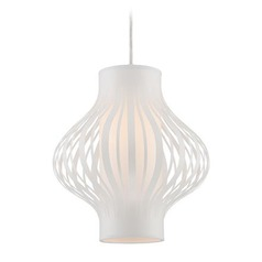 Lite Source Lanica White Pendant Light with Cylindrical Shade